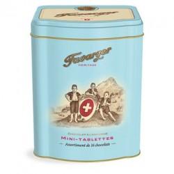 Boite métal 16 mini-tablettes de chocolat - spécialité Suisse