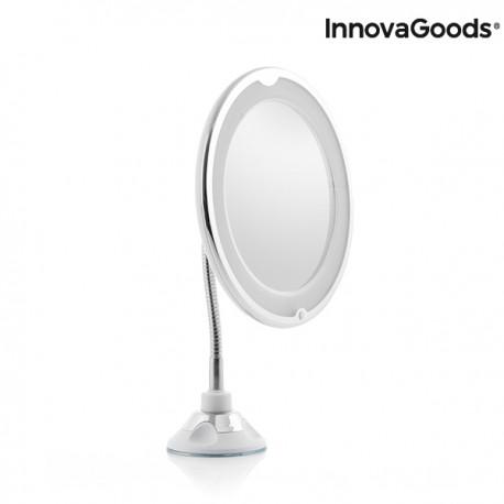 Miroir grossissant à LED avec bras flexible et ventouse