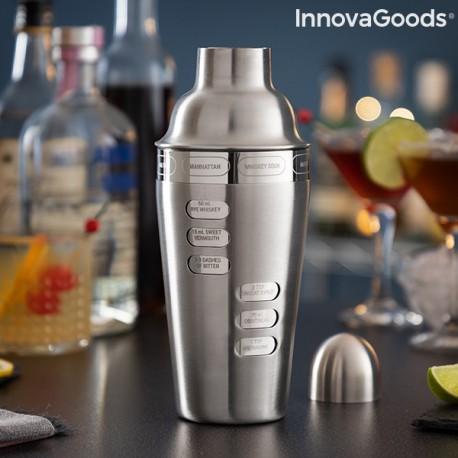 Shaker à cocktail avec recettes de cocktails intégrées