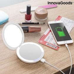 Miroir de Poche avec LED et batterie de secours 3 en 1