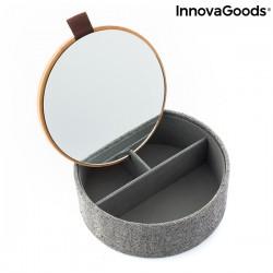 Boîte à bijoux organisateur en bambou avec miroir