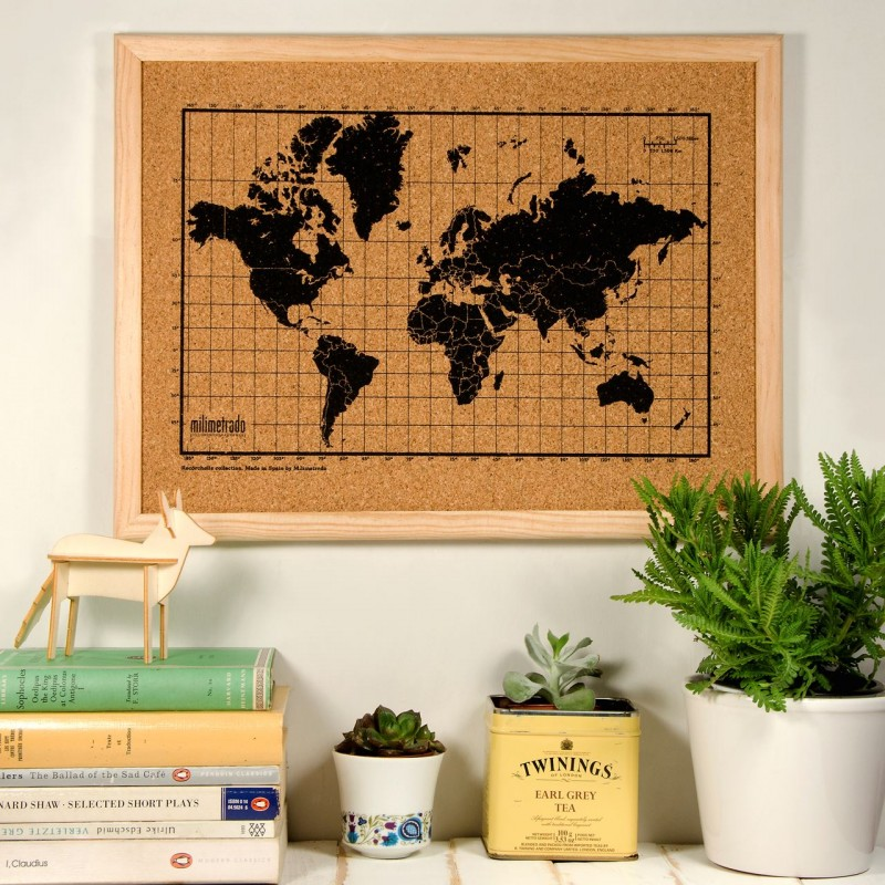 world map corkboard with wooden frame small. Black Bedroom Furniture Sets. Home Design Ideas