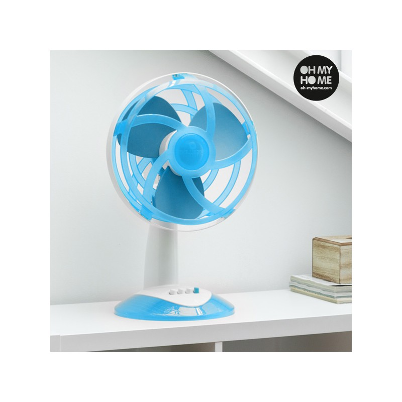 ventilateur de bureau bleu avec pales en caoutchouc eva oh my home 45w. Black Bedroom Furniture Sets. Home Design Ideas
