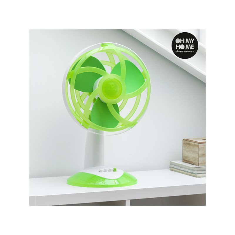 ventilateur de bureau vert avec pales en caoutchouc eva oh my home 45w. Black Bedroom Furniture Sets. Home Design Ideas
