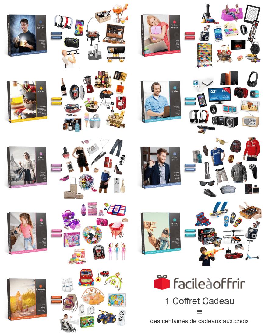 Exemple de cadeaux présents dans les coffrets cadeaux Facile à Offrir